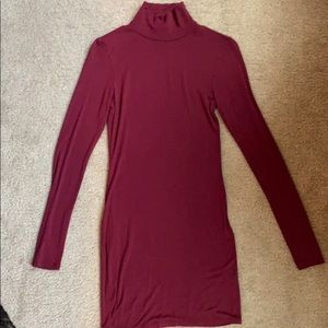 Tobi Burgundy Mini High Neck Dress!